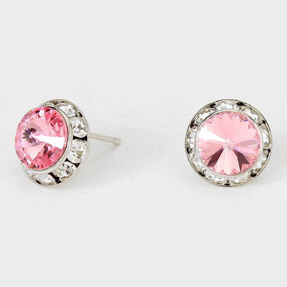 16mm Silver LIGHT PINK SWAROVSKI Stud Earrings ( 47 )