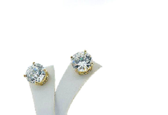 9mm Round Gold Clear Cubic Zirconia CZ Stud Earrings Surgical Steel