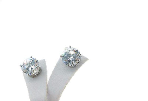 6mm Round Silver Clear Cubic Zirconia CZ Stud Earrings Surgical Steel ( 1756 )
