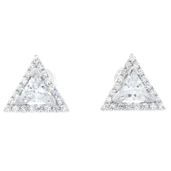 10mm SILVER CLEAR TRIANGLE HALO CZ CUBIC ZIRCONIA STUD EARRINGS ( 338 )