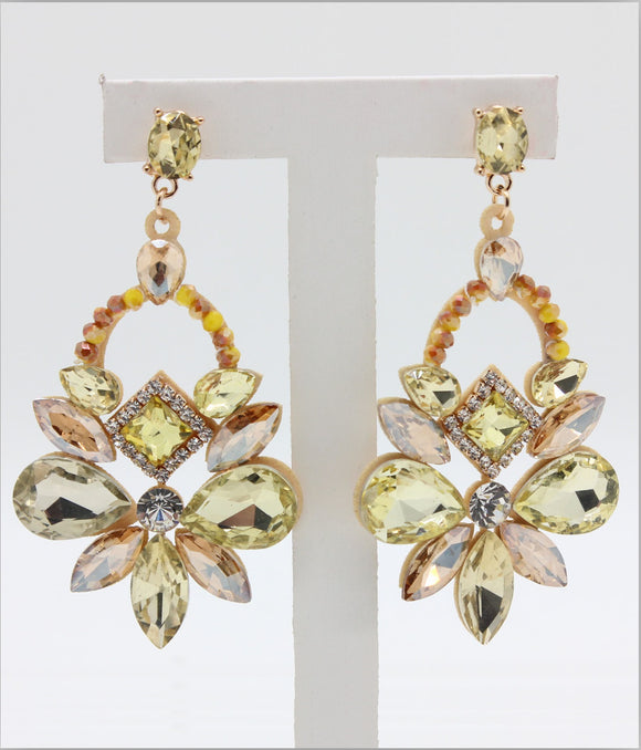 YELLOW AND GOLD CHANDELIER EARRINGS ( 1015 )