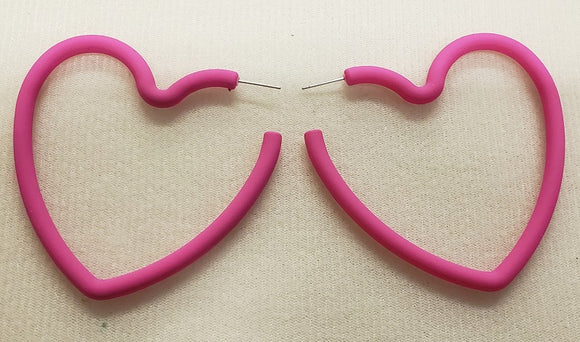 PINK HEART HOOP EARRINGS ( 1205 )