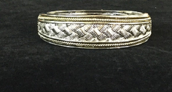 Two Toned Hinged Bangle with Braided Basket Weave Design