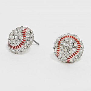 Silver Rhinestone Baseball Stud Earrings ( 1342 )
