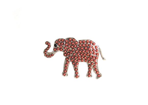 SILVER ELEPHANT BROOCH RED BEADS ( 1096 )