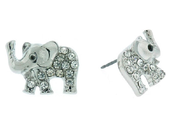 Clear Rhinestone and Silver Elephant Stud Earrings