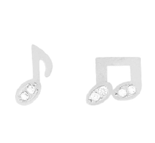 Silver Rhinestone Music Note Stud Earrings