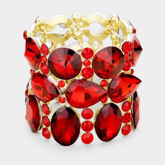 Gold Red Oval, Teardrop, and Round Shape Formal Stretch Bracelet ( 0036 )