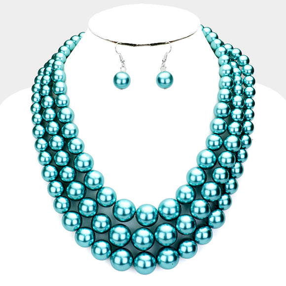 3 Layer Teal Blue Pearl Necklace with Earrings ( 036 )