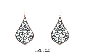 Metal Patina Filigree Earring ( 8104 )