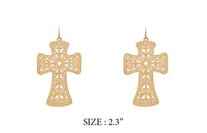 "2.3"" Gold Laser Cut Light Weight Dangling Cross Earrings"