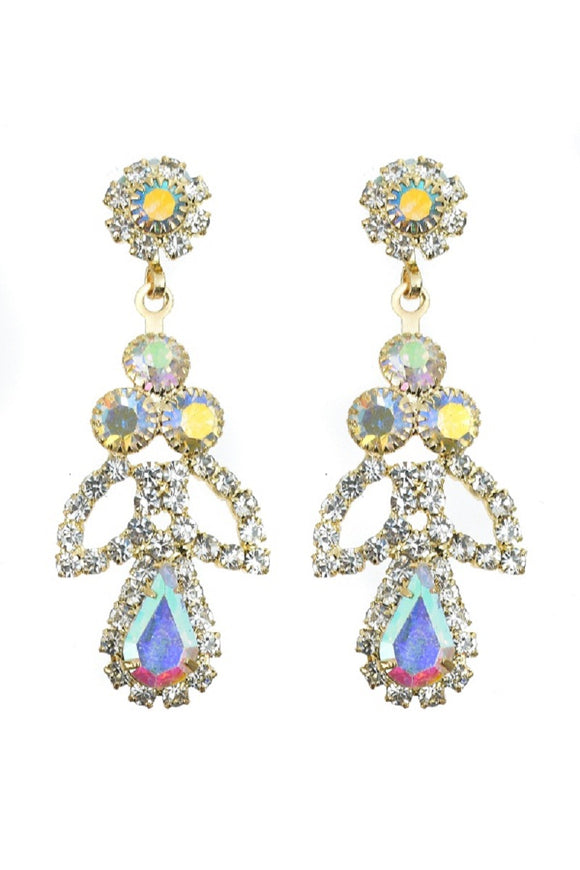 GOLD DANGLING EARRINGS CLEAR AB STONES ( 10372 CLABGD )