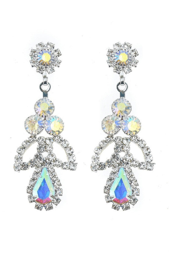 SILVER DANGLING EARRINGS CLEAR AB STONES ( 10372 CLABSV )