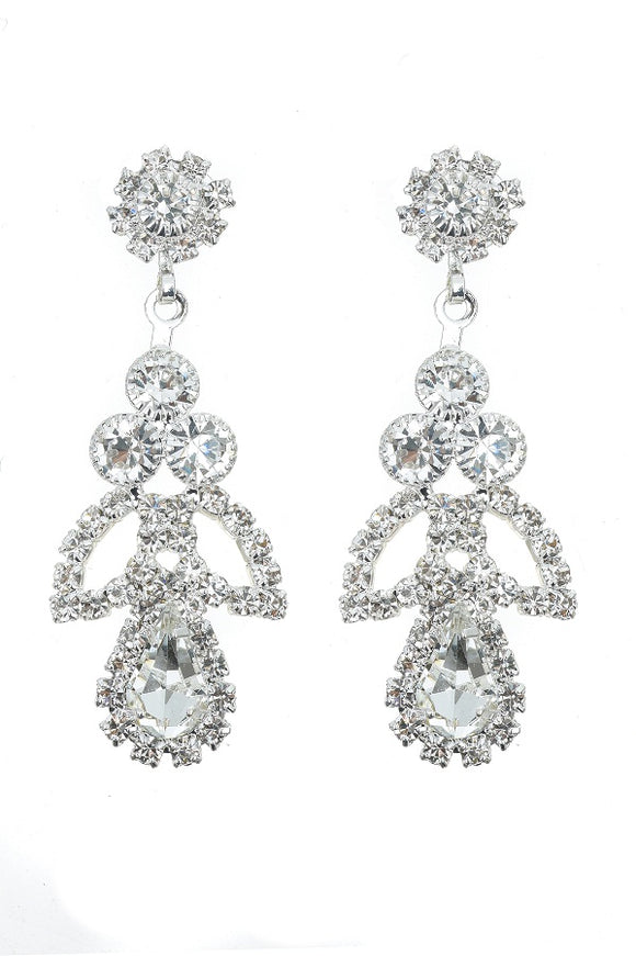 SILVER DANGLING EARRINGS CLEAR STONES ( 10372 CLSV )