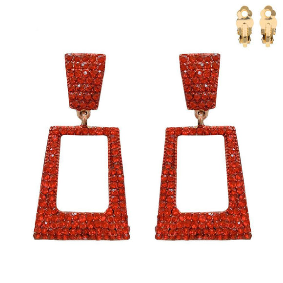 GOLD CLIP ON EARRINGS RED STONES ( 166 GRED )
