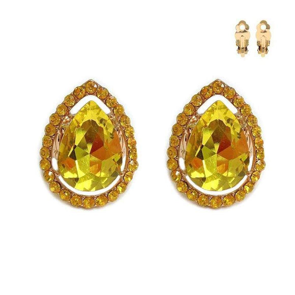 Gold Clip On Earrings with Yellow Rhinestones ( 167 GYE )