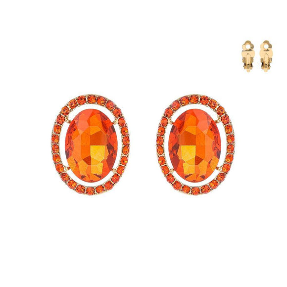 GOLD CLIP ON EARRINGS WITH ORANGE STONES ( 169 GOR )