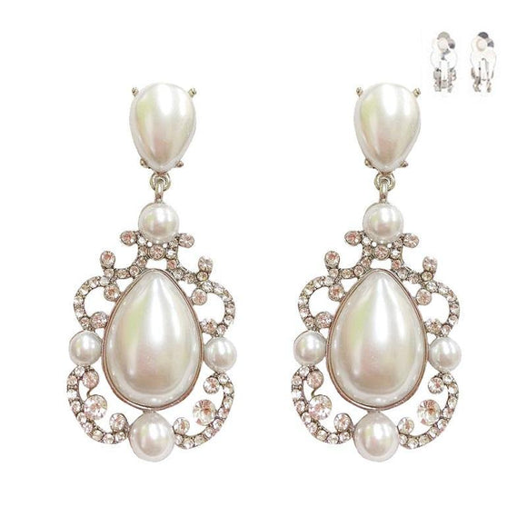 SILVER WHITE PEARL CLEAR STONE CLIP ON EARRINGS ( 175 RWH )