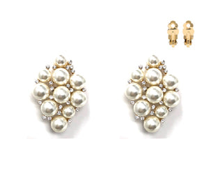 "2"" Long Large Clip On Earrings with Cream Pearls in Gold Setting ( 215 )"