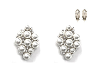 "2"" Long Large Clip On Earrings with White Pearls in Silver Setting ( 215 )"