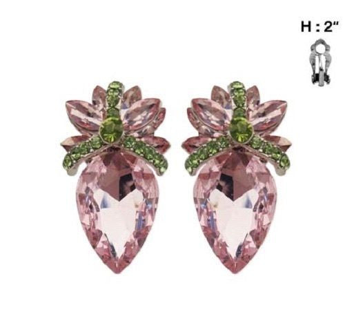 Pink and Green Stone Clip On Pineapple Stud Earrings