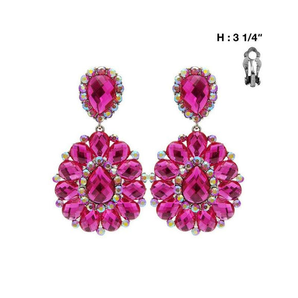 Large Fuchsia Pink Stone Clip On Earrings ( 36 )