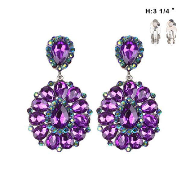 Large Purple Stone Clip On Earrings ( 36 )
