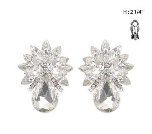 Large Silver Clear Pineapple Design Clip On Earrings ( 4276)