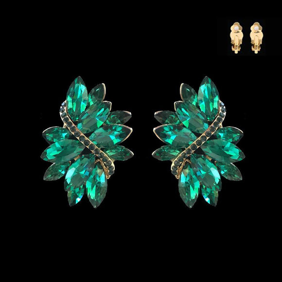 GOLD GREEN Marquise Stone Clip On Earrings ( 53 GGR )