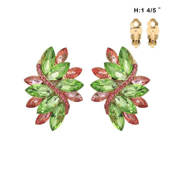 Pink and Green Marquise Stone Clip On Earrings ( 53 GPL )