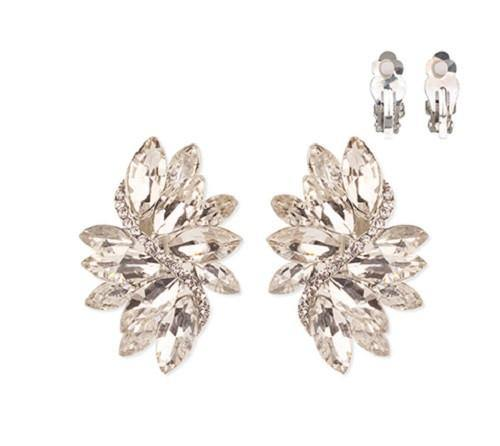 Silver Clear Marquise Stone Clip On Earrings ( 53 RCL )