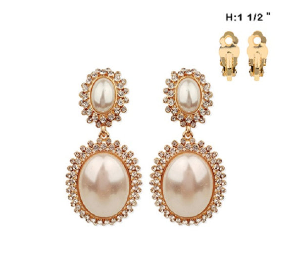 Double Oval Cream Pearl and Rhinestone with Gold Accents Clip On Earrings