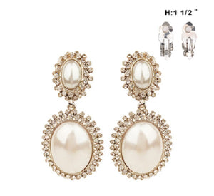 Double Oval White Pearl and Rhinestone with Silver Accents Clip On Earrings ( 77 )