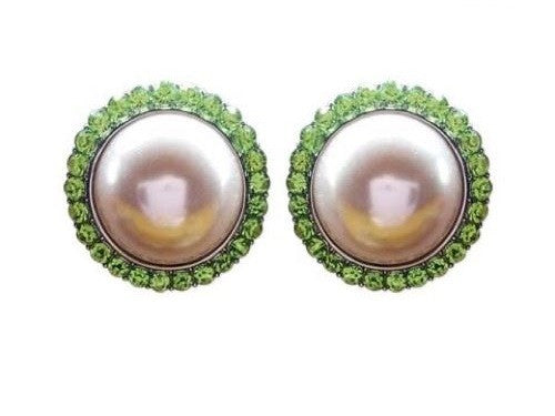 Pink and Green Faux Pearl Round Clip Earrings