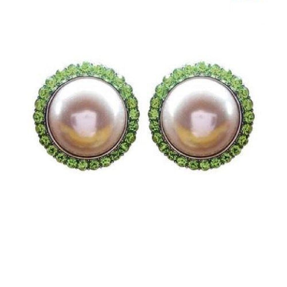 PINK AND GREEN FAUX PEARL ROUND POST STUD EARRINGS ( 7 )
