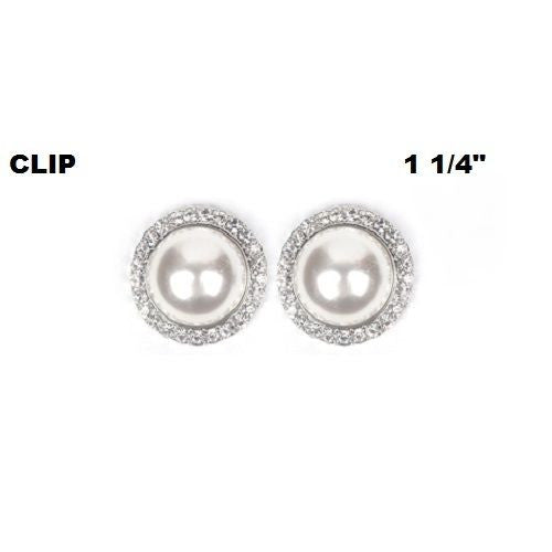 Large White Faux Pearl Clip On Round Earrings