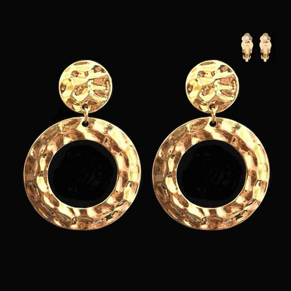 GOLD HAMMERED CIRCLE CLIP ON EARRINGS ( 003 )