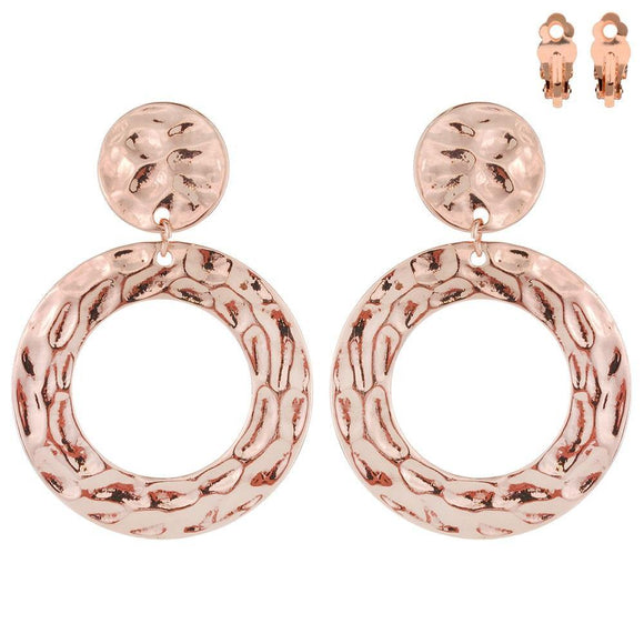ROSE GOLD HAMMERED CIRCLE CLIP ON EARRINGS ( 003 )