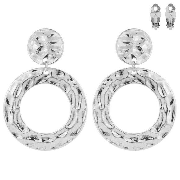 SILVER HAMMERED CIRCLE CLIP ON EARRINGS ( 003 )