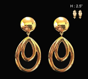 "2.5"" Gold Fashion Clip On Earrings ( 021 )"