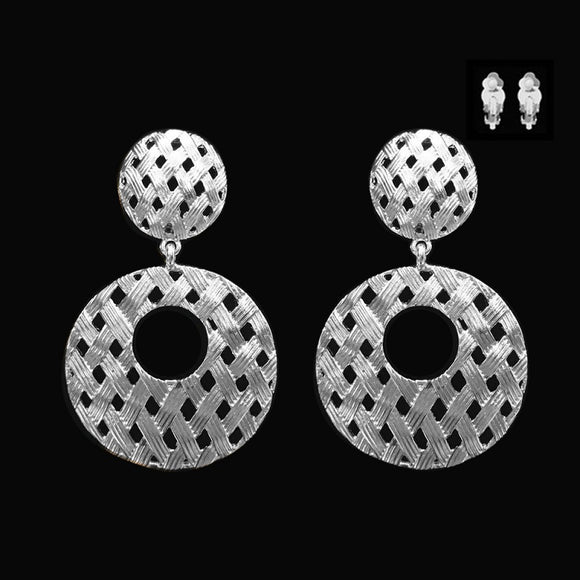 SILVER EARRINGS WITH WEAVED DESIGN ( 045 )