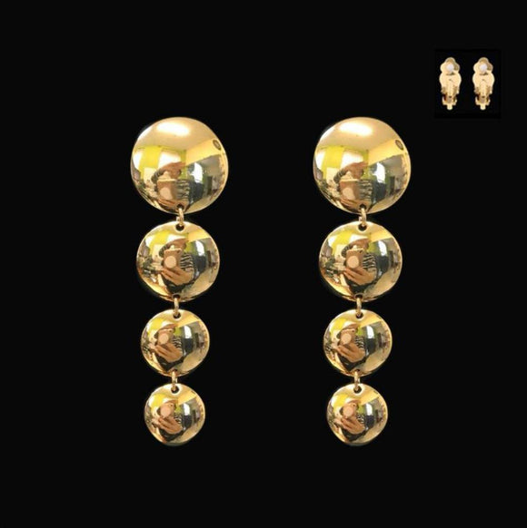 GOLD DANGLING CIRCLE CLIP ON EARRINGS ( 052 G )