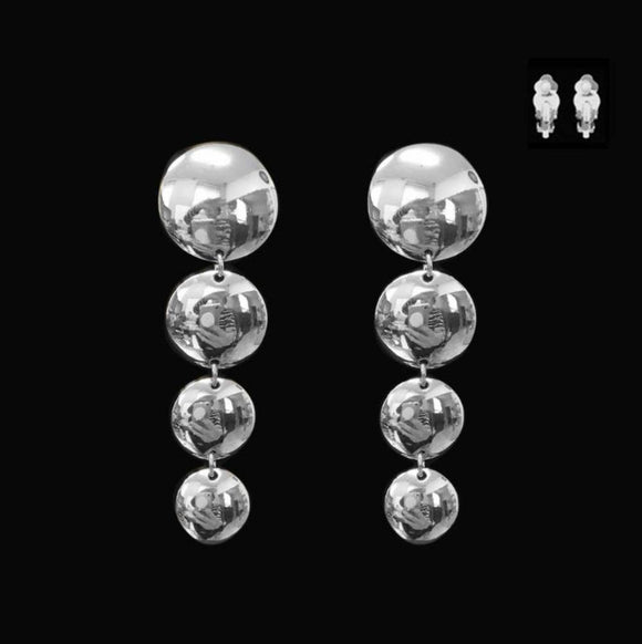 SILVER DANGLING CIRCLE CLIP ON EARRINGS ( 052 R )