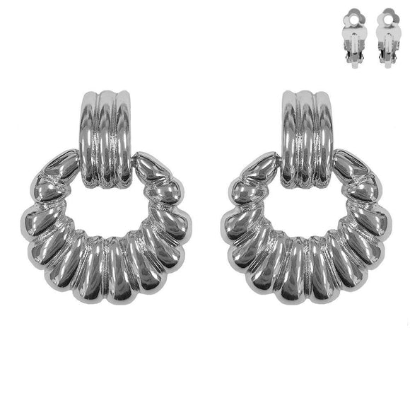 SILVER METAL DOOR KNOCKER CLIP ON EARRINGS ( 062 R )