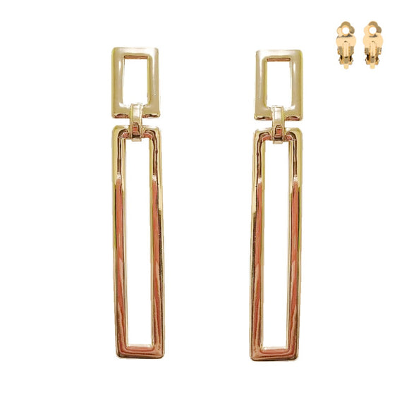 GOLD RECTANGLE CLIP ON EARRINGS ( 095 )