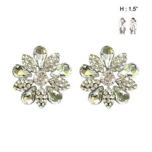"1.5"" Silver Clear Rhinestone Flower Design Clip On Earrings ( 134 )"