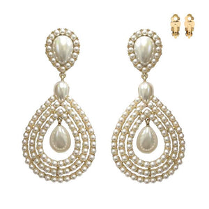 "Large 3.8"" Gold Cream Pearl Teardrop Clip On Earrings ( 150 GCR )"