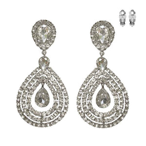 "Large 3.8"" Silver Clear Crystal Teardrop Clip On Earrings ( 150 )"