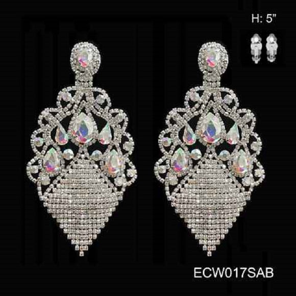 SILVER CLIP ON CHANDELIER EARRINGS WITH AB STONES ( 017 )