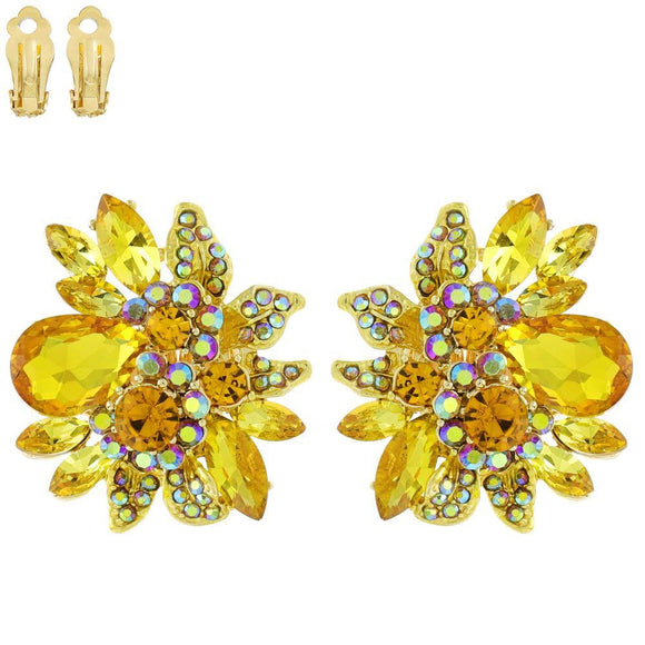 GOLD YELLOW STONES CLIP ON EARRINGS ( 11212 GYE ) - Ohmyjewelry.com